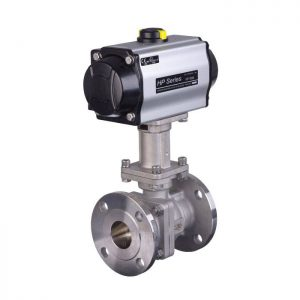 Pneumatic Actuated 3 Way Stainless Steel Ball Valve (1 Inch) [Contact For Other Size]