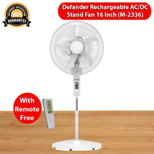 Defender Rechargeable ACDC 16 Inch Stand Fan With Remote Model-2336