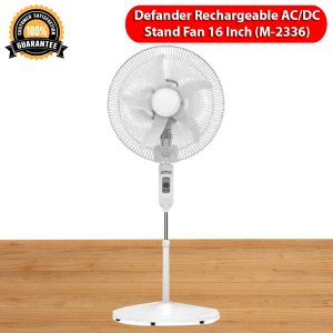 Defender Rechargeable AC DC 16 Inch Stand Fan With Remote Model-2336