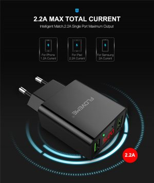 9e616413a1e1925cb965620ac2fb6c66Cell Phone Battery Charger 5V Power Adapter FLOVEME LED Display Portable Dual USB Wall Charger Black and white with Cable 2