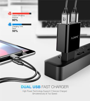 Cell Phone Battery Charger 5V Power Adapter FLOVEME LED Display Portable Dual USB Wall Charger Black and white with Cable 1