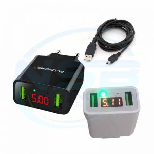 Cell Phone Battery Charger 5V Power Adapter FLOVEME LED Display Portable Dual USB Wall Charger Black and white with Cable