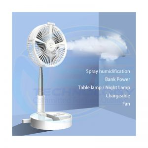 H9 Portable Folding Retractable Fan USB Charging Floor Fan Humidifying Water Spray Fan