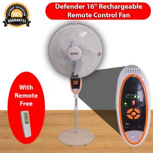Defender Rechargeable AC DC 16″ Inch Stand Fan With Remote Model-2936